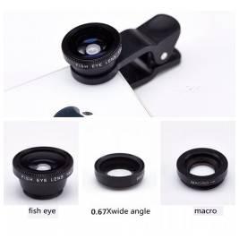 Objetivo para cámara de móviles universal ancho, macro, ojo de pez 3 en 1